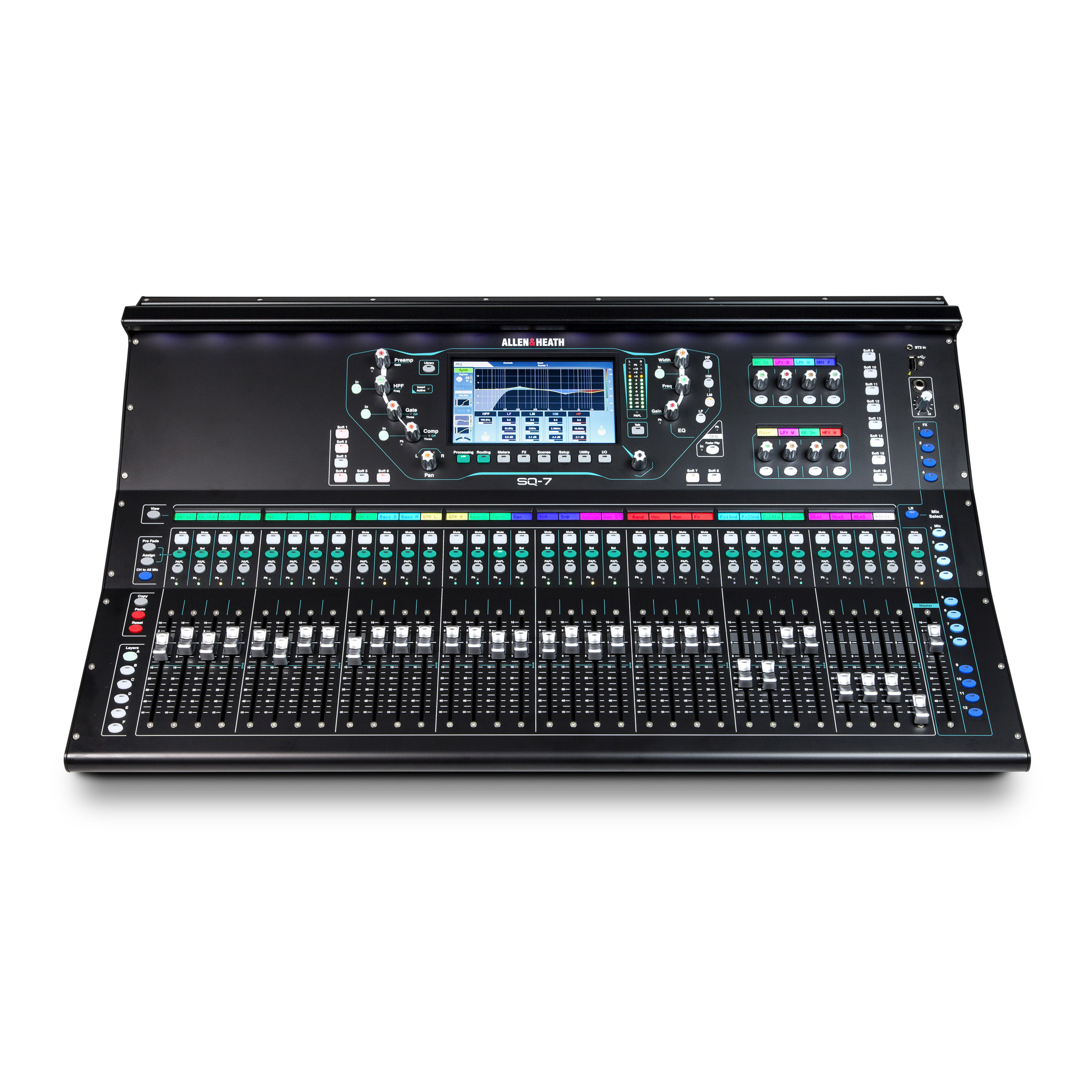 Allen & Heath SQ-7 48 Channel / 36 Bus Digital Mixer Bundle with 2x Powered Loudspeakers and Accessories