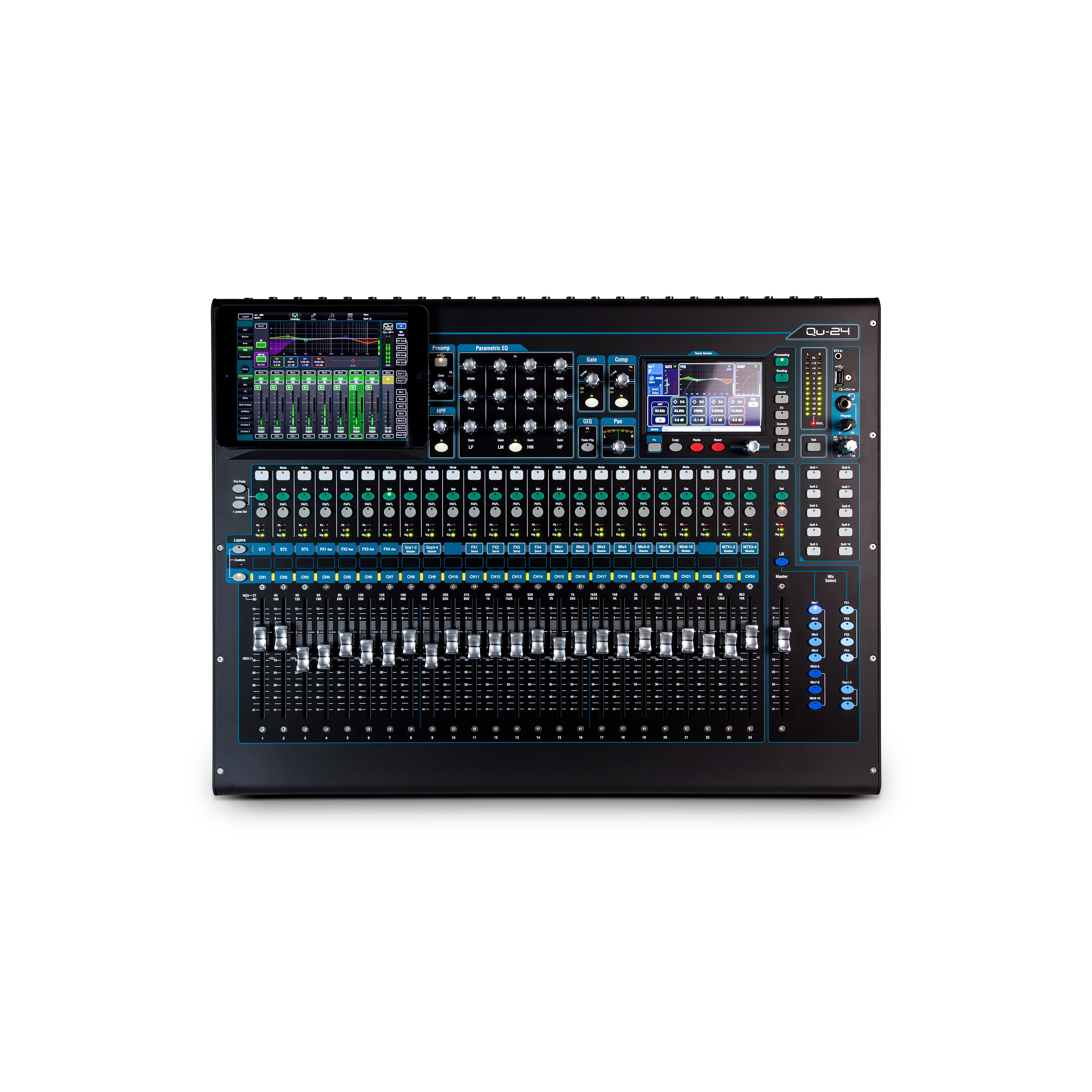Allen & Heath QU-24C 30 In/24 Out Compact Digital Mixer, Chrome Edition