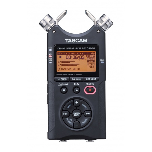 TASCAM DR40 4-Channel 96kHz/24-bit Digital Recorder with XLR Inputs and Adjustable Mics